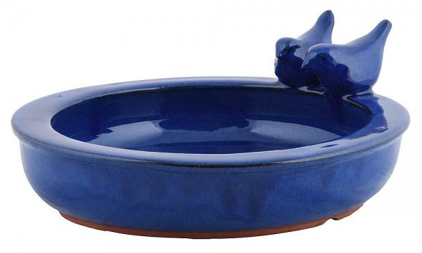 Vogeltränke mit Vögelchen Keramik Blau Vogelbad Vogelfutterschale Rund 27cm