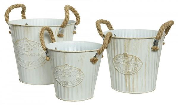 Zinkeimer Landhaus 3 Stück Pflanztopf Zink Weiß mit Griffen Blumentopf Vintage