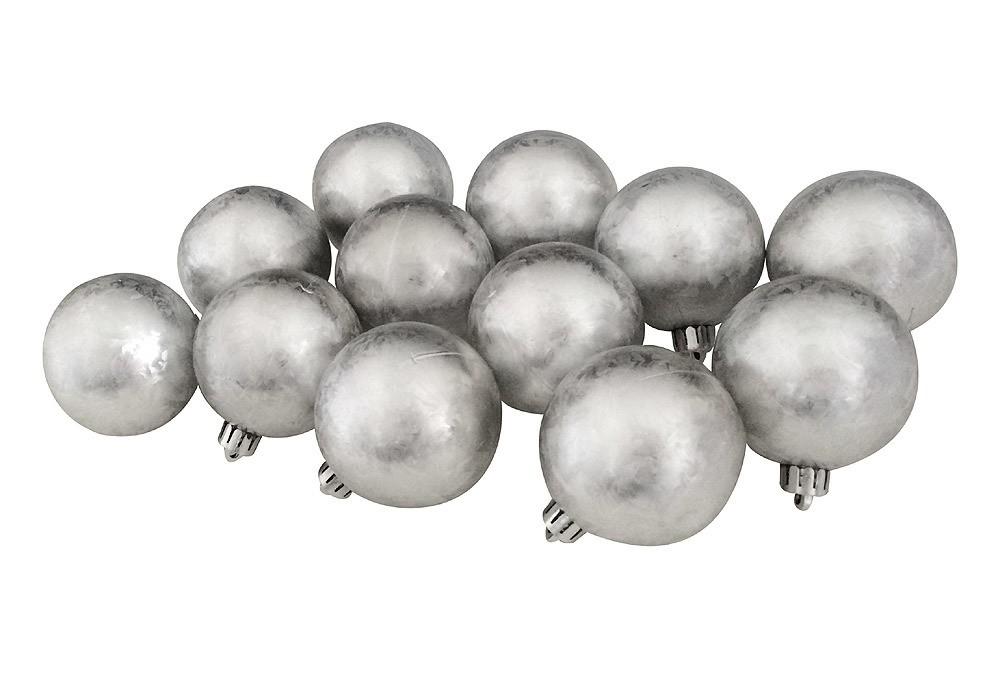 Christbaumkugeln Metall.Christbaumkugeln Weihnachtskugeln Bruchfest Silber Metall Optik 12
