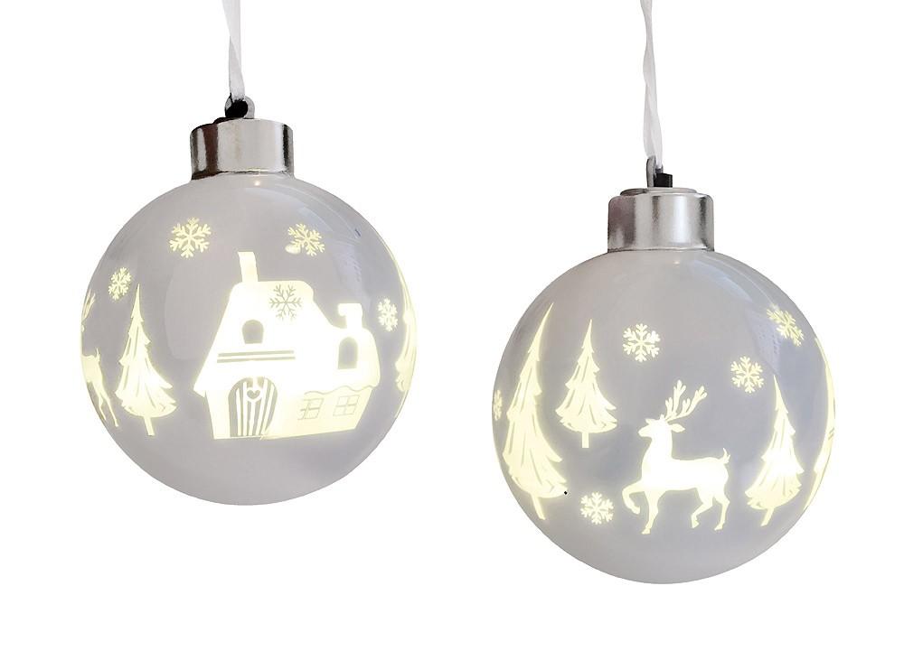 Christbaumkugeln Weiß 8cm.Christbaumkugeln Mit Led Beleuchtung Rentier 2 Stück Weiß Echt Glas