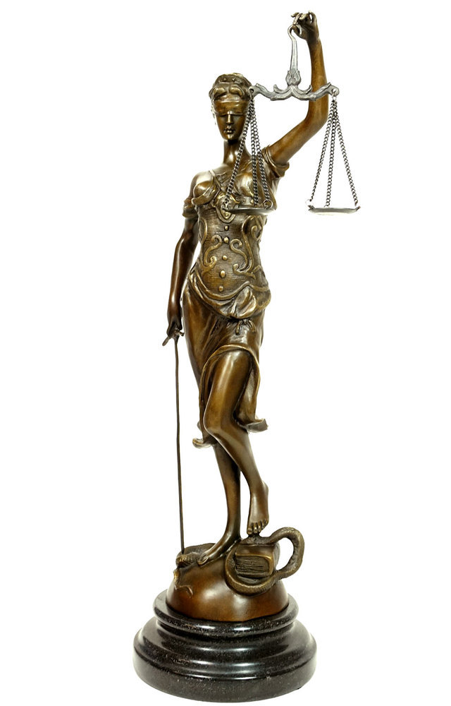 Bronze skulptur figur justitia g ttin der gerechtigkeit for Wohnen deko shop
