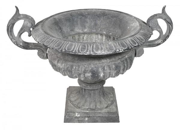 Französische Vase Gusseisen Shabby Grau Henkel Pflanztopf Amphore Antik-Stil