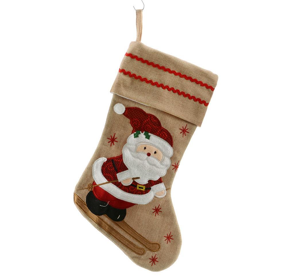 Weihnachtsstrumpf Weihnachtsmann Nikolausstiefel Jute ...