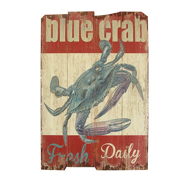 wandbild blue crab holz nostalgie vintage diner antik stil 60x40cm kaufen. Black Bedroom Furniture Sets. Home Design Ideas