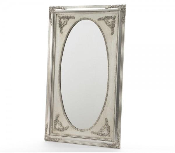 Wandspiegel barock spiegel holzrahmen silber 70x40cm for Barock wandspiegel silber