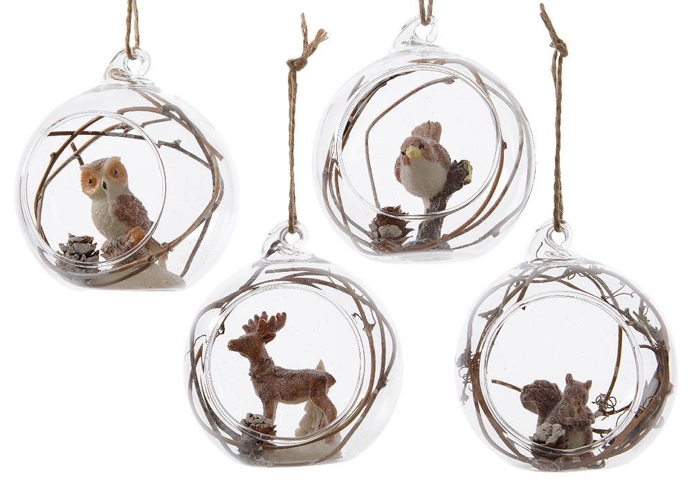 Christbaumkugeln Echt Glas Mit Waldtieren 4 Stuck Weihnachtskugeln