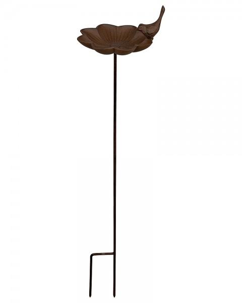 Vogeltränke auf Stab Vogel Rosenblatt Futterschale Vogelbad Gusseisen 92cm