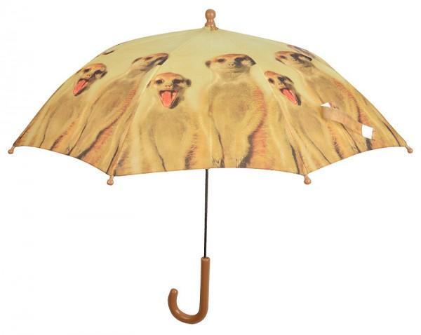 Image of Kinder Regenschirm Erdmännchen Tiermotiv Safari Kinderschirm
